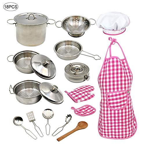 knowledgi - Juego de utensilios de cocina para niños, de acero inoxidable, juego de sartenes, delantal y gorro de cocina, para niñas y niños