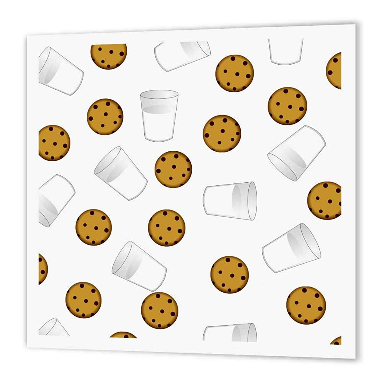 3dRose ht_43206_3 Cute Cartoon Milk & Chocolate Chip Cookies on White Iron on Heat Transfer Paper for White Material, 10 by 10