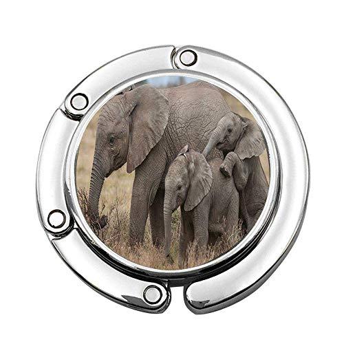 Elefante mamá y bebé Elefante en pastizales africanos, Bolso de Mano Plegable Personalizado, Bolso, Gancho para Colgar, Gancho
