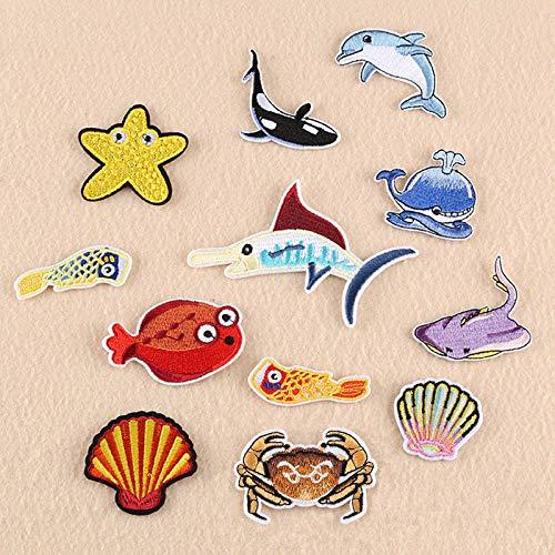 Coser O Planchar En Los Parches Apliques Para Ropa, estilo de tiburón cangrejo de 12 piezas