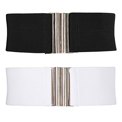 GRACE KARIN Women Brown Wide Belts for Vintage Dress Elastic Waistband Black White S