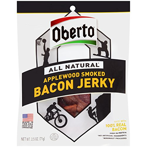 Oberto All Natural Applewood Smoked Bacon Jerky, 2.5-Ounce Bag , 8-Count
