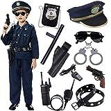 Policía Disfraz Niño con Policía Equipo Policía Camisa Pantalones Sombrero Cinturón Policía Placa Esposas Gafas de Sol Walkie Talkie Policía Juguete Kit para Niños Halloween Fiesta Carnaval (XS)