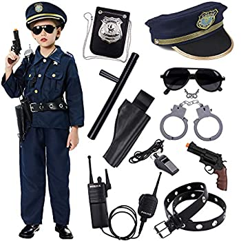 Police Costume for Kids Dress Up Set Role Play Officer with Handcuffs Badge Toys