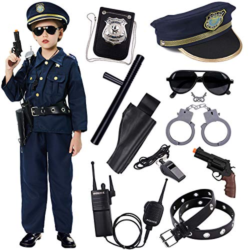 Police Dress Up Costume Set Shirt, Pants, Hat, Belt, Whistle, Gun Holster and Walkie Talkie (Small (5-7 year))