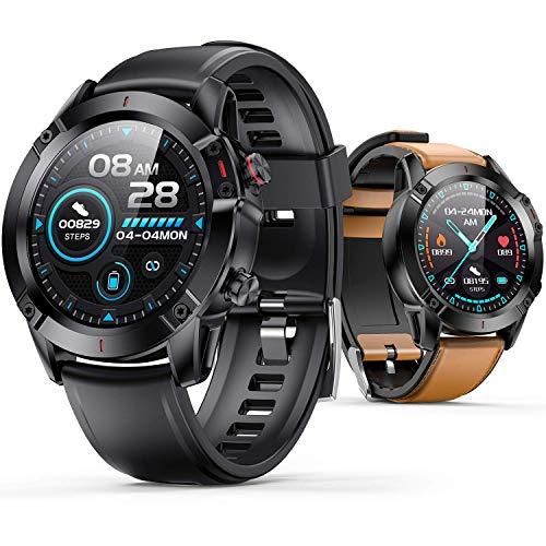 AGPTEK Smartwatch Hombre, Reloj Inteligente de HD Pantalla Táctil Completa Impermeable IP68 con 7 Deportes, Pulsómetro, Monitoreo del Sueño, Pulsera Actividad con Correa Repuesta