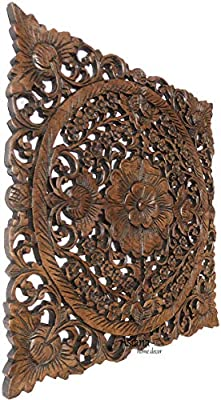 """Asian Wall Art Home Decor.Large Square Carved Wood Wall Plaque. Decorative Floral Wood Wall Panel.Tropical Home Decor. Brown 24"""" Square by Asiana Home Decor"""