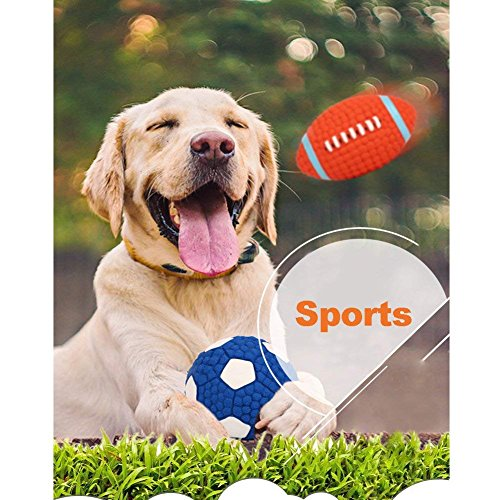 HLovebuy Squeaky Dog Ball Toys Pet Squeak Chew Ball Toys Interactive and Chewing Durable Latex Balls Non-Toxic Latex Clean Teeth for Small Medium Large Dog (Blue and Red)