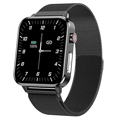 QFSLR Smartwatch Pulsera Inteligente con Monitoreo De Temperatura De Reloj Inteligente Monitor De Frecuencia Cardíaca Monitor De Presión Arterial Monitoreo De Oxígeno En Sangre,Black q