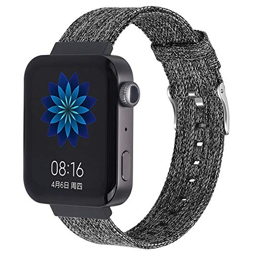 Sorteo Correa de Nylon de 18 mm para Xiaomi Smart Watch Canvas Sport Wamkband Reemplazo de Pulsera para MI Smart Watch Pulsera Accesorios (Band Color : Black Gray, Band Width : 18mm)