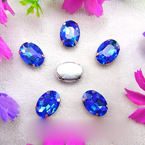 Glass Crystal Silver Claw Settings 7 Sizes Colors Mix Oval Shape Sew on Rhinestone Beads Crystals Garments Shoes Bag DIY Trim