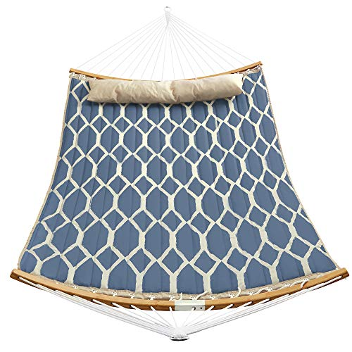 SONGMICS Hammock, Quilted Hammock with Curved Bamboo Spreaders, Pillow, 78.7 x 55.1 Inches, Portable...