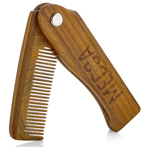 Price comparison product image Folding Wooden Comb - 100% Solid Beech Wood - Fine Tooth Pocket Sized Beard,  Mustache,  Head Hair Brush Combs for Men Perfect for All Hair Types - Travel,  Styling & Detangler