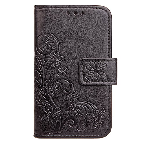 for Vodafone Smart First 7 Bookstyle Case, Clover PU Leather Flip Wallet Case Cover (Black)