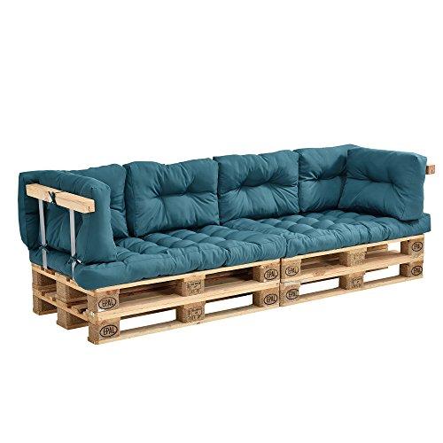 [en.casa] Coussins pour palettes - 8 pièces - Coussin de siège + Coussins de Dossier [Turquoise] Canapé de palettes in/Outdoor