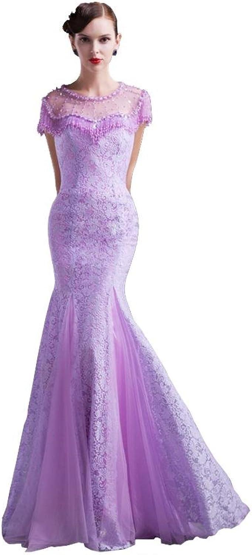 BeautyEmily Beading Mermaid SeeThrough Cap Sleeve Evening Dresses