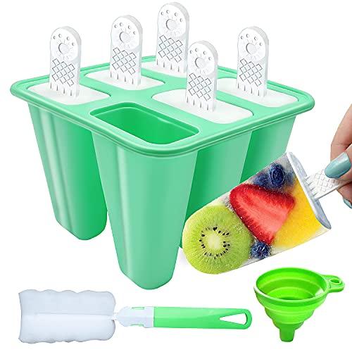 Moldes para Helados, DIY Popsicle Mold, Helado con Juego de Moldes 6 Pack con Embudo y Cepillo, Hacer Helados Caseros para, Niño y Adultos (Verde)