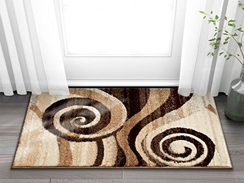 Desert Swirl Brown & Beige Modern Geometric Comfy Casual Spiral Hand Carved Area Rug 8x10 8x11 ( 7'10' x 9'10' ) Easy to Clean Stain Fade Resistant Contemporary Thick Soft Plush Living Dining Room