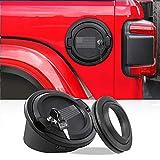 JeCar Fuel Filler Cover Locking Gas Tank Door Aluminum Alloy Gas Cap Cover Exterior Accessories for 2018-2021 Jeep Wrangler JL JLU, US Flag
