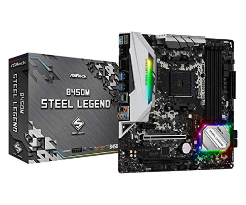 ASRock B450M STEEL LEGEND Socket AM4/ AMD Promontory B450/ DDR4/ Quad CrossFireX/ SATA3&USB3.1/ M.2/...
