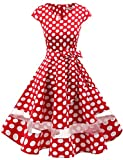 Gardenwed Women's 1950s Rockabilly Cocktail Party Dress Retro Vintage Swing Dress Cap-Sleeve V Neck Red White Dot L