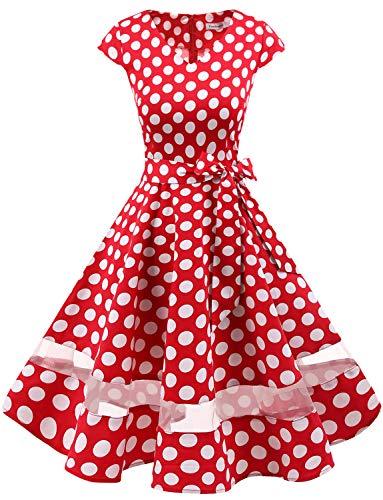 Gardenwed 1950er Vintage Retro Rockabilly Kleider Petticoat Faltenrock Cocktail Festliche Kleider...