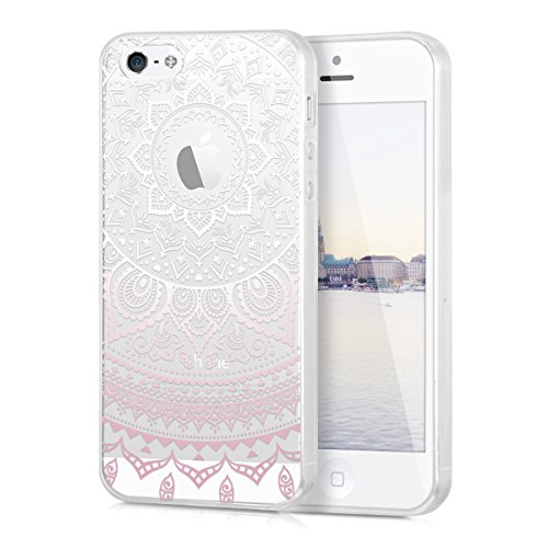kwmobile Hülle kompatibel mit Apple iPhone SE (1.Gen 2016) / 5 / 5S - Handyhülle - Handy Case Indische Sonne Rosa Weiß Transparent