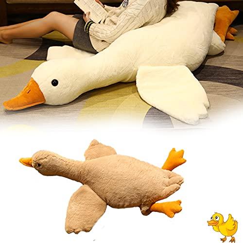 Almohada de muñeco de Peluche Super Big Ducks, Gran muñeca de Ganso Blanco, Pato Grande Creativo del Juguete de la Felpa, para Que Las niñas duerman en una Cama de Almohada Larga (Brown, 130cm)