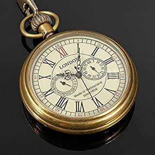 Scott ALlah Design - Vintage Antique Bronze Steampunk Quartz Mechanical Skeleton Pocket Watch Chain