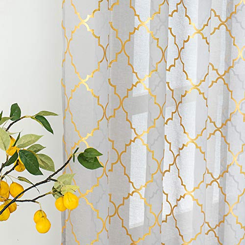 Kotile Moroccan Curtains for Living Room - Grey Sheer Curtains 84 Inches Long Print Metallic Gold Trellis Curtains Lattice Sheer Grommet Window Curtains for Bedroom, 52 x 84 Inch, 2 Panels, Grey Gold