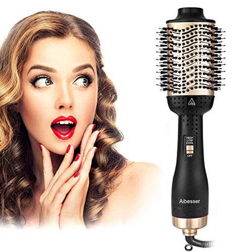 Aibesser One-Step Hair Dryer & Volumizer Hot Air Brush (Black+Gold)