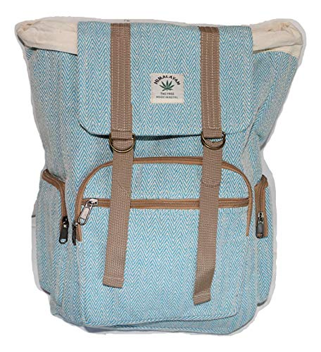 HIMALAYAN Hanf Rucksack/Hanf Tagesrucksack/Hanf Wanderrucksack/Hanf Umschlag Rucksack mit Kordelzug – hellblau – handgemacht in Nepal (Made in Nepal) – Model 67.5