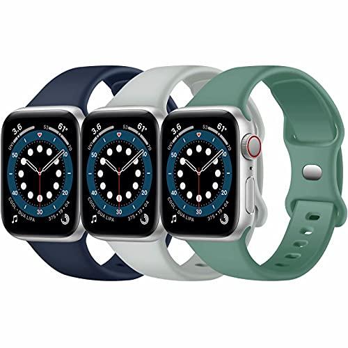 Paquete de 3 correas para Apple Watch compatibles con Apple Watch 38 mm, 42 mm, 40 mm, 44 mm, correa de silicona suave para relojes deportivos, compatible con iWatch SE Series 6 5 4 3 2 1(E, 42/44)
