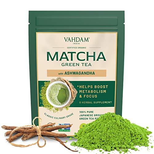 VAHDAM, Ashwagandha Matcha Grüntee | 100 % BIO REINER JAPANISCHER MATCHA | Kalorienarmer Matcha mit Gewürzen | Keto freundlich, Vegan | Fördert Energie & lindert Stress