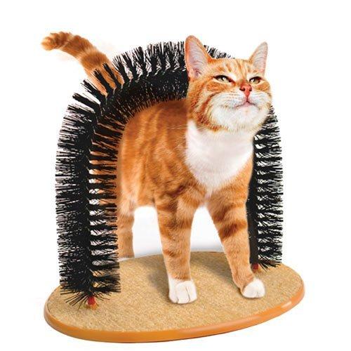 Coolper Katze Bogen Self Groomer Massager mit Katzenminze Katze Scratcher Spielzeug Fellpflege,Massagebogen für Katzen
