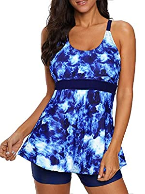 American Trends Two Piece Swimsuits for Women Tummy Control Tankini Top with Boyshorts Plus Size Sporty Bathing Suits Blue 12-14