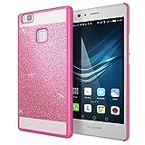 NALIA Funda Carcasa Compatible con Huawei P9 Lite, Protectora Movil Purpurina Cubierta Dura Delgado Glitter Hard-Case, Telefono Bumper Smart-Phone Back-Cover Lentejuela Ultra-Fina - Pink Rosa