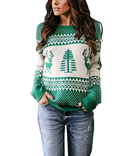 Yidarton Women's Ugly Christmas Sweaters Holiday Patterns Reindeer Tree Knit Pullover(Green,L
