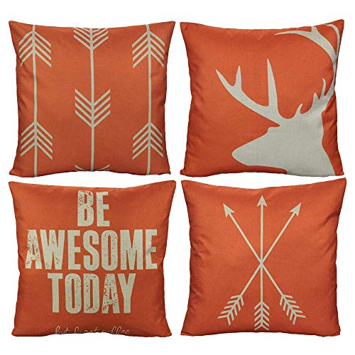 LISPLA Orange Outdoor Throw Pillow Covers Deer Antler Arrows Elk Summer Decorative Cushion Cases Rustic Quote Words Home Decor for Couch Sofa Patio Furniture 18x18 Inch Set of 4 18X18in