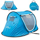 Pop-up Tent an Automatic Instant Portable Cabana Beach Tent - Suitable for Upto 2 People - Doors on Both Sides - Water-Resistant and UV Protection Sun Shelter - with Carrying Bag (Sky Blue)