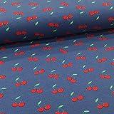 Schickliesel Jersey Stoff Meterware Kirschen dunkelblau