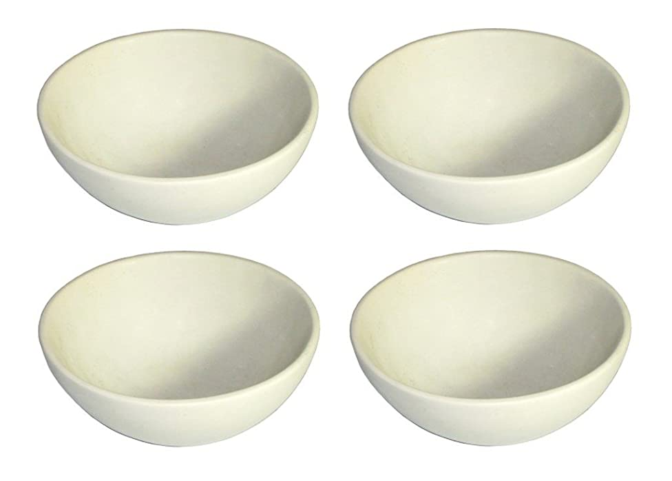 The Friendly Trading Company Earth Bowl Natural Stone Bowls - Set of 4 - Salad Cereal Snacks Dips Desserts - 7 inch