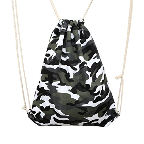 VORCOOL Sacs de Cordon de Camouflage de Plein air Sac Sacs à bandoulière (Camouflage Gris)