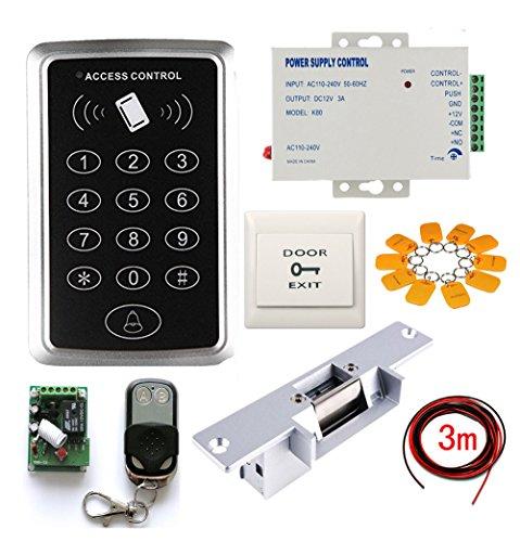Single Door Strike Lock Proximity RFID Swipe+Password Keypad Access Control Complete System Kits