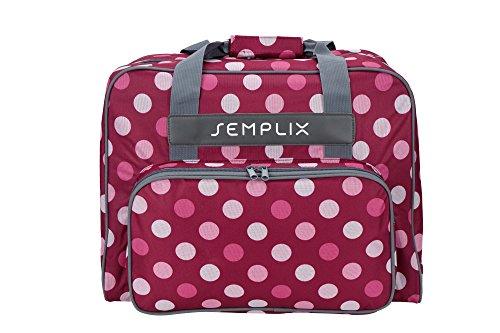 SEMPLIX Nähmaschinentasche Polka Dots, Beere/Rosa, 45x34x24 | stabile Transport und Aufbewahrungs Tasche in vielen frischen Farben, für alle gängigen Haushaltsnähmaschinen