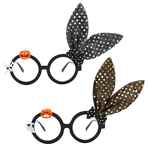 Nieuwe 2 stuks Halloween brilmontuur pailletten konijntje oor party bril kostuum glazen
