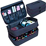 ButterFox Large Nail Polish Storage Organizer Holder Carrying Case Bag, Fits 40-50 Bottles (0.5 fl oz - 0.3 fl oz), Pockets for Manicure Accessories (Black/Purple)