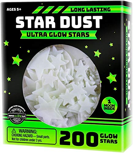 OIG Brands Ultra Brighter Glow in The Dark Stars; Special Deal 200 Count w/Bonus Moon, Amazing for Children and Toddler Decorations Wall Stickers for Boys! Free Constellation Guide