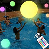 KIRALUMI LED Beach Ball 16'' Pool Toy with Remote Control, 16 Colors Lights and 4 Light Modes, Outdoor Pool Beach Party Games for Kids Adults, Glow in Dark Home Patio Garden Party Decorations
