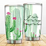 20oz Catus Tumbler Cup Vacuum Insulated Coffee Mug Cacti Flos Travel Cups Double Walled Philippians 4:13 Water Mug Stainless Steel Water Bottle with Lid Straw and Cleaner